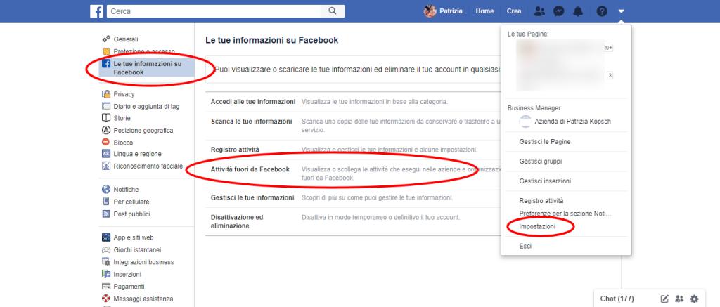 Le tue informazioni su Facebook